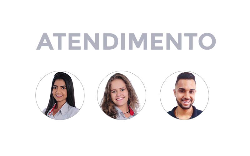 Equipe Atendimento CCAA Divinópolis Bruna Dutra (Agente de atendimento), Mayra Cordeiro (Estagiária) e Rodolfo Silva (Agente de Atendimento)